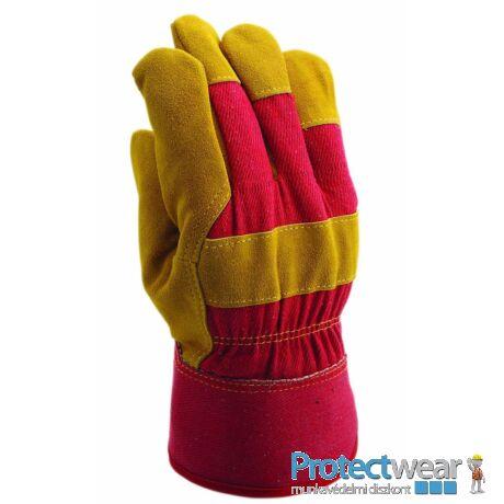 Marha hasítékbőr tenyerű kesztyű, sárga,piros vászon kézháttal, téli,  filc béléssel