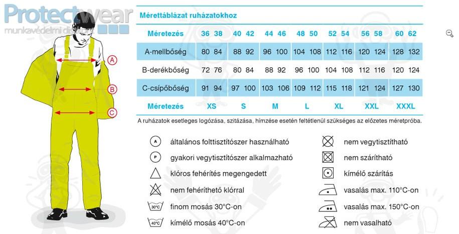 Munkaruha mérettáblázat - Méretezés, méretek,